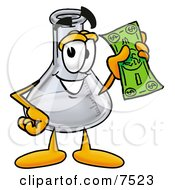 An Erlenmeyer Conical Laboratory Flask Beaker Mascot Cartoon Character Holding A Dollar Bill