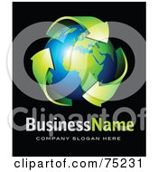 Royalty Free RF Clipart Illustration Of A Pre Made Business Logo Of Green Recycle Arrows Around A Shiny Navy Bue And Green Globe