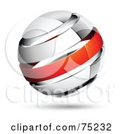 Pre Made Business Logo Of A Shiny White And Red Globe