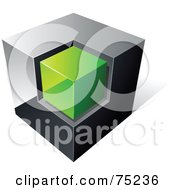 Royalty Free RF Clipart Illustration Of A Pre Made Business Logo Of A Chrome And Green Cube On White by beboy