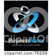 Royalty Free RF Clipart Illustration Of A Pre Made Business Logo Of Blue And Chrome Rings On Black by beboy