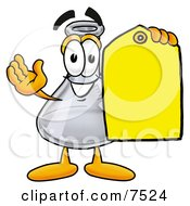 Clipart Picture Of An Erlenmeyer Conical Laboratory Flask Beaker Mascot Cartoon Character Holding A Yellow Sales Price Tag