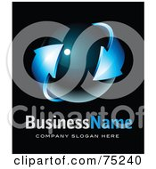 Pre Made Business Logo Of A Blue Arrow Around A Dark Orb On Black