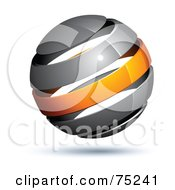 Royalty Free RF Clipart Illustration Of A Pre Made Business Logo Of A Gray And Orange Globe