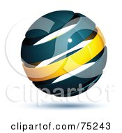 Royalty Free RF Clipart Illustration Of A Pre Made Business Logo Of A Navy Blue And Yellow Globe