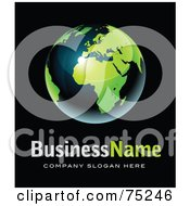Royalty Free RF Clipart Illustration Of A Pre Made Business Logo Of A Shiny Navy Bue And Green Globe