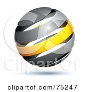 Royalty Free RF Clipart Illustration Of A Pre Made Business Logo Of A Gray And Yellow Globe