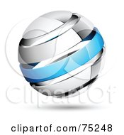 Royalty Free RF Clipart Illustration Of A Pre Made Business Logo Of A Shiny White And Blue Globe by beboy #COLLC75248-0058