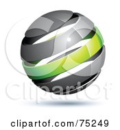 Royalty Free RF Clipart Illustration Of A Pre Made Business Logo Of A Gray And Green Globe