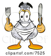 An Erlenmeyer Conical Laboratory Flask Beaker Mascot Cartoon Character Holding A Knife And Fork