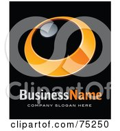 Royalty Free RF Clipart Illustration Of A Pre Made Business Logo Of An Orange Ring With A Chrome Dot by beboy