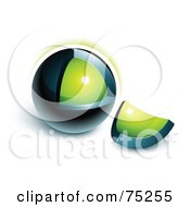 Royalty Free RF Clipart Illustration Of A Pre Made Business Logo Of A Crumbling Green And Navy Blue Orb