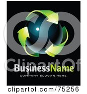 Pre Made Business Logo Of Green Recycle Arrows Around A Dark Orb On Black