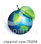 Royalty Free RF Clipart Illustration Of A Dewy Green Leaf On Top Of A 3d Shiny Earth