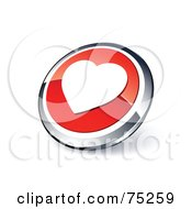 Royalty Free RF Clipart Illustration Of A Round Red And Chrome 3d Heart Web Site Button