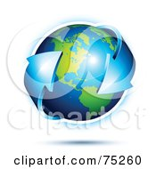 Royalty Free RF Clipart Illustration Of A Blue Double Ended Arrow Circling Around A 3d Earth