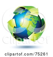 Royalty Free RF Clipart Illustration Of Green Recycle Arrows Circling Around A Shiny 3d African Earth