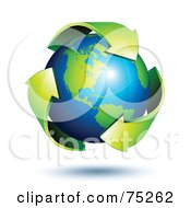 Royalty Free RF Clipart Illustration Of Green Recycle Arrows Circling Around A Shiny 3d American Earth