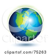 Royalty Free RF Clipart Illustration Of A Bright Light Reflecting Off Of A 3d Earth