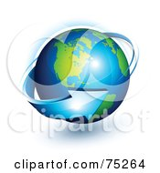 Royalty Free RF Clipart Illustration Of A 3d Blue Arrow Spiraling Around A 3d Earth