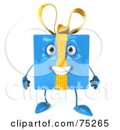 Royalty Free RF Clipart Illustration Of A 3d Blue Gift Character With A Bow by Julos
