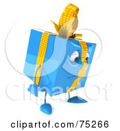 Royalty Free RF Clipart Illustration Of A 3d Blue Gift Character Pouting
