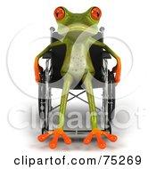 Handicap 3d Green Tree Frog Using A Wheelchair - Version 2