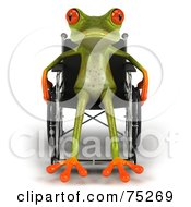Royalty Free RF Clipart Illustration Of A Handicap 3d Green Tree Frog Using A Wheelchair Version 2