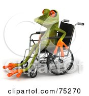 Royalty Free RF Clipart Illustration Of A Handicap 3d Green Tree Frog Using A Wheelchair Version 1