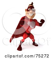 3d Red Super Hero Guy Standing And Punching by Julos