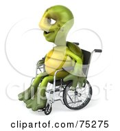 Royalty Free RF Clipart Illustration Of A 3d Green Tortoise Character Using A Wheelchair Version 2
