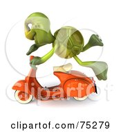 Royalty Free RF Clipart Illustration Of A 3d Green Tortoise Character Flying By On An Orange Scooter