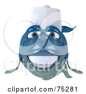 3d Blue Chef Fish Character Facing Front