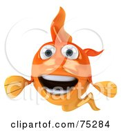 Royalty Free RF Clipart Illustration Of A 3d Happy Goldfish Character Facing Forward by Julos