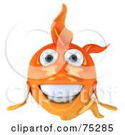 Royalty Free RF Clipart Illustration Of A 3d Happy Goldfish Character Facing Front by Julos