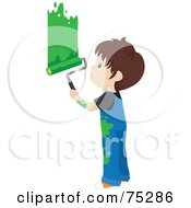 Royalty Free RF Clipart Illustration Of A Little Caucasian Boy In Splattered Overalls Painting A Wall Green by Rosie Piter