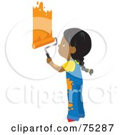 Royalty Free RF Clipart Illustration Of A Little African American Girl In Splattered Overalls Painting A Wall Orange by Rosie Piter