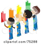 Royalty Free RF Clipart Illustration Of African American And Caucasian Boys And Girls In Splattered Overalls Painting A Wall Different Colors