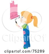 Royalty Free RF Clipart Illustration Of A Little Caucasian Girl In Splattered Overalls Painting A Wall Pink