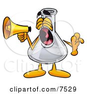 An Erlenmeyer Conical Laboratory Flask Beaker Mascot Cartoon Character Screaming Into A Megaphone