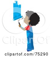 Royalty Free RF Clipart Illustration Of A Little African American Boy In Splattered Overalls Painting A Wall Blue by Rosie Piter