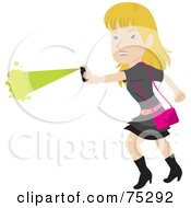 Royalty Free RF Clipart Illustration Of A Tough Blond Caucasian Woman Defending Herself With Pepper Spray by Rosie Piter