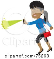 Royalty Free RF Clipart Illustration Of A Tough Hispanic Woman Defending Herself With Pepper Spray