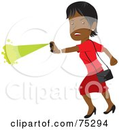 Royalty Free RF Clipart Illustration Of A Tough African American Woman Defending Herself With Pepper Spray by Rosie Piter