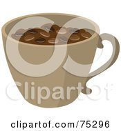 Royalty Free RF Clipart Illustration Of A Brown Cup Full Of Roasted Coffee Beans by Rosie Piter