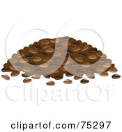 Royalty Free RF Clipart Illustration Of A Pile Of Roasted Coffee Beans