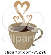 Royalty Free RF Clipart Illustration Of Steam Hearts Rising From A Brown Cup Of Coffee