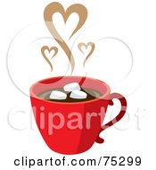 Royalty Free RF Clipart Illustration Of A Red Cup Of Hot Chocolate With Marshmallows And Steam Hearts by Rosie Piter