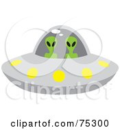 Royalty Free RF Clipart Illustration Of Two Alien Beings Flying A Saucer