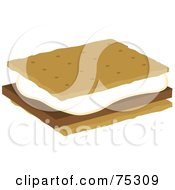 Royalty Free RF Clipart Illustration Of A Marshmallow And Chocolate On Graham Crackers Smores